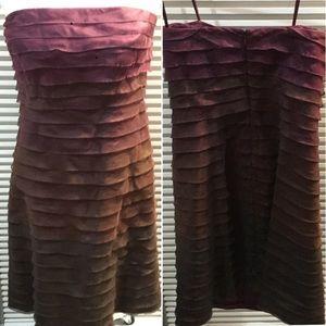 Plum to brown organza ruffle strapless dress zip